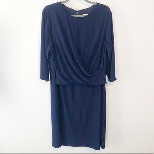 Eliza J navy faux wrap dress 3/4 sleeve size 20w